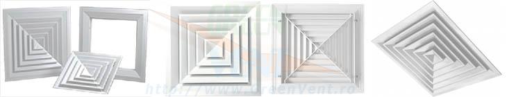 Anemostate patrate din aluminiu sau otel vopsit in cimp electrostatic